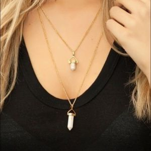 Sterling Forever White Marble Layered Necklace